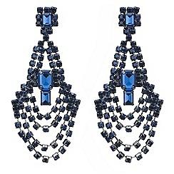 Mood - Blue crystal diamante loop chandelier earring