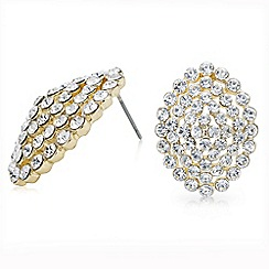 Mood - Gold crystal pave dome stud earring