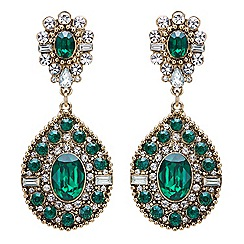 Mood - Green crystal ornate statement earring
