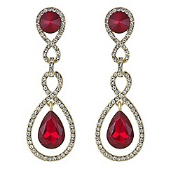 Mood - Red crystal double drop earring