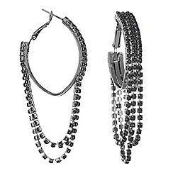 Mood - Black diamante chain drop hoop earring