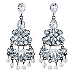 Mood - Teardrop link pearl droplet chandelier earring