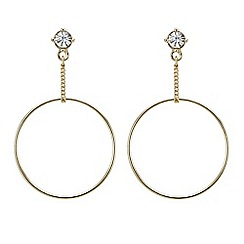 Mood - Gold chain drop front facing hoop earring