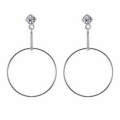 Mood - Silver chain drop front facing hoop earring