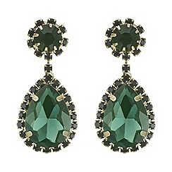 Mood - Green crystal diamante teardrop earring