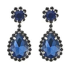 Mood - Blue crystal diamante teardrop earring