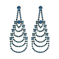 Mood - Teal crystal diamante chandelier earring