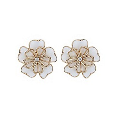 Mood - Rose gold cream open flower stud earring