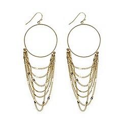 Mood - Gold layered chain drop hoop earring