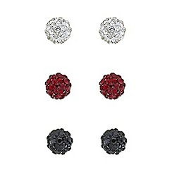 Mood - Multi colour pave ball stud earring set