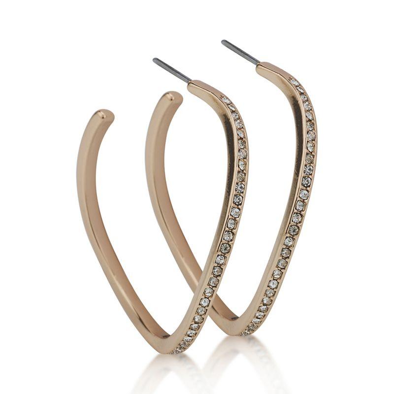 Mood Rose Gold Crystal Angular Hoop Earring, Womens