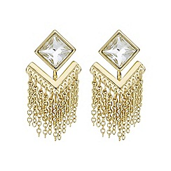 Mood - Gold crystal chain drop stud earring
