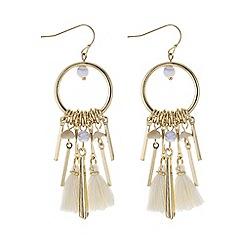 Mood - Gold bead and multi tassel drop earring