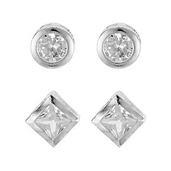 Mood - Silver crystal multi shape earring set
