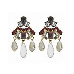 Mood - Red crystal multi stone droplet earrings
