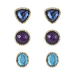 Mood - Gold crystal gem earring set