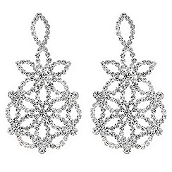 Mood - Silver floral crystal diamante earrings