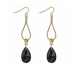 Mood - Gold black crystal droplet earring