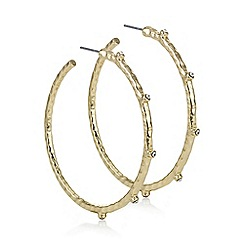 Mood - Gold crystal textured hoop earring