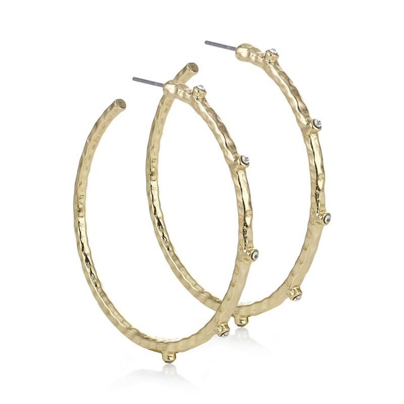 Mood Gold Crystal Textured Hoop Earring, Womens