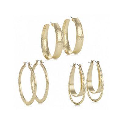 Mood Gold textured hoop earring set