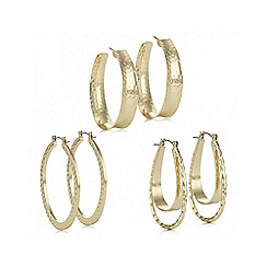 Mood - Gold textured hoop earring set