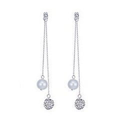 Mood - Pearl and pave ball silver earring