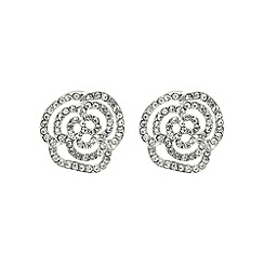Mood - Silver crystal floral rose stud earring