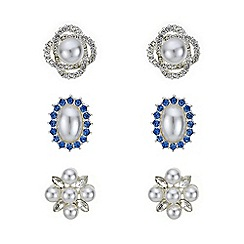 Mood - Pearl and crystal stud earring set