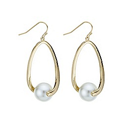 Mood - Gold pearl twist open drop earring
