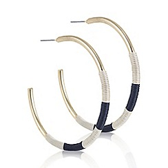 Mood - Black and white woven hoop earring