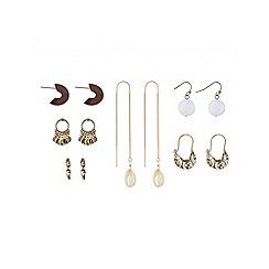Mood - Gold shell mixed shape earring pack