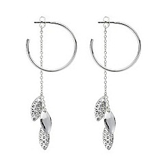 Mood - Silver pave leaf fringed earring