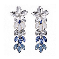 Mood - Tonal blue floral cascade drop earring