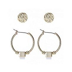 Mood - Gold stud and hoop earring set