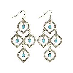 Mood - Green crystal droplet open gold earring