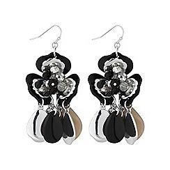 Mood - Black beaded flower earring