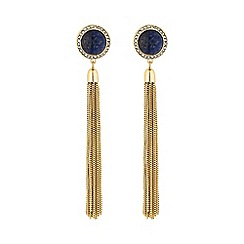 Mood - Blue stone tassel earring
