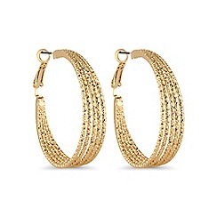 Mood - Gold textured hoop earring