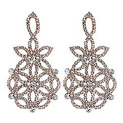 Mood - Rose gold floral diamante earrings