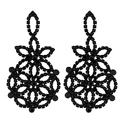 Mood - Jet floral diamante earring