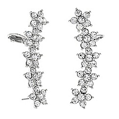 Mood - Silver floral ear climbers