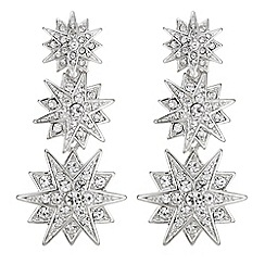Mood - Silver crystal star drop earrings