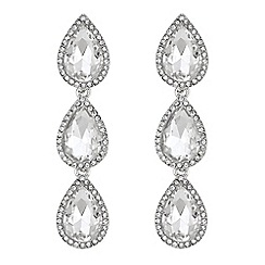 Mood - Silver crystal peardrop earrings