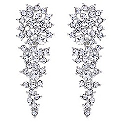 Mood - Silver crystal cluster drop earrings