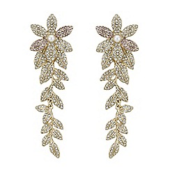 Mood - Crystal pave floral drop earrings