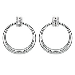 Mood - Silver crystal hoop earrings