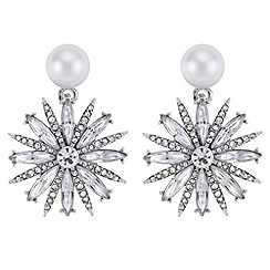 Mood - Pearl floral drop earrings