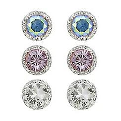 Mood - Multi tone crystal stud earrings set