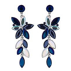 Mood - Blue crystal navette drop earrings